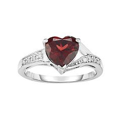 Sterling Silver Garnet & Diamond Accent Heart Ring