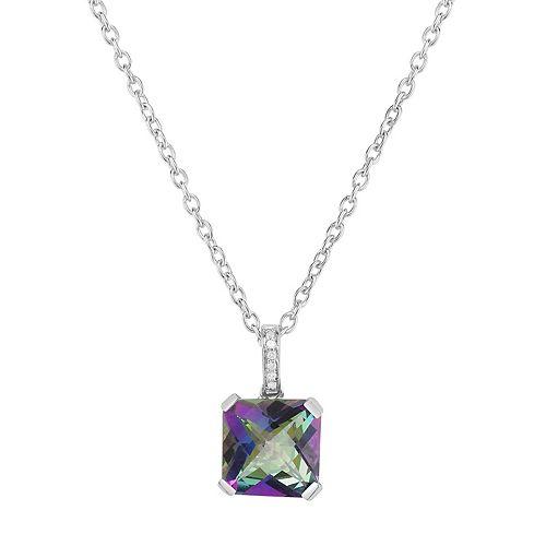 Sterling Silver Mystic Topaz & Diamond Accent Pendant Necklace