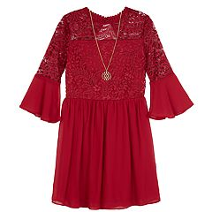 Girls 7-16 IZ Amy Byer Lace Bodice Bell Sleeve Dress with Necklace