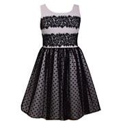 Girls 7-16 & Plus Size Bonnie Jean Lace & Flocked Dot Mesh Scuba Dress