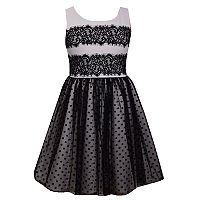 Girls 7-16 & Plus Size Bonnie Jean Lace & Flocked Dot Mesh Scuba Dress