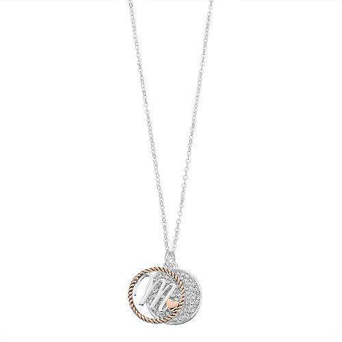 Tone silver plated crystal disc initial pendant necklace two tone silver plated crystal disc initial pendant necklace mozeypictures Choice Image