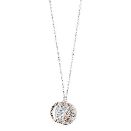 Two tone silver plated crystal disc initial pendant necklace aloadofball Image collections