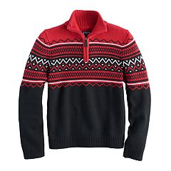 Boys 8-20 Chaps 1/4-Zip Striped Sweater