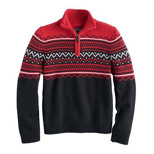 Boys 8-20 Chaps 1/4-Zip Striped Sweater