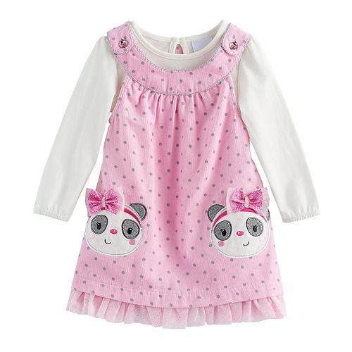 d565f875a5b Baby Girl Nannette Polka-Dot Panda Bear Jumper & Bodysuit Set