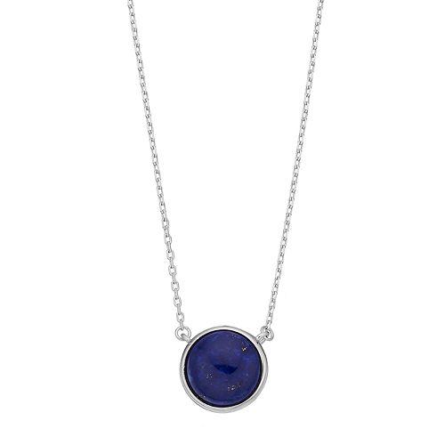 Sterling Silver Lapis Lazuli Cabochon Necklace