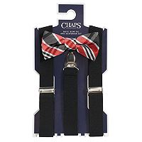 Boys 4-20 Chaps Plaid Bow-Tie & Suspenders Set