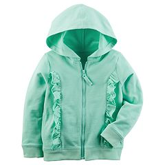Girls 4-8 Carter's Ruffled French Terry Zipper Hoodie