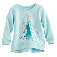 Disney's Frozen Elsa & Olaf Baby Girl High-Low Fleece Lined Pullover Sweater