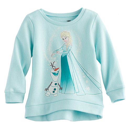 Disney's Frozen Elsa & Olaf Baby Girl High-Low Fleece Lined Pullover Sweater