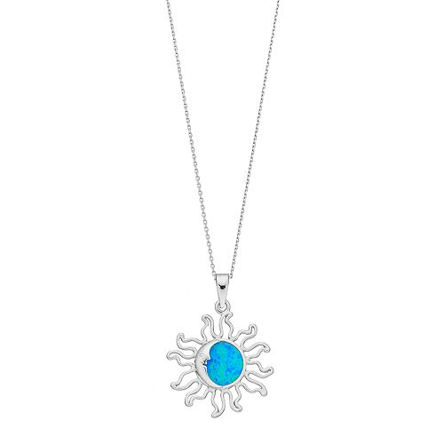 Sterling Silver Lab-Created Blue Opal Sun Pendant