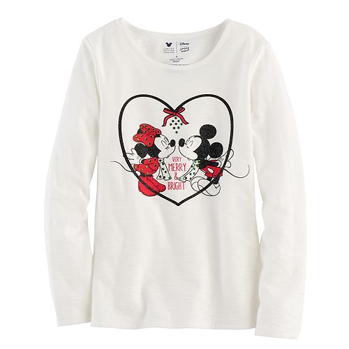 Disney's Mickey Mouse & Minnie Mouse Girls 4-7 Glitter & Rhinestone Mistletoe Graphic Tee by Jumping Beans®