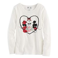 Disney's Mickey Mouse & Minnie Mouse Toddler Girl Glitter & Rhinestone Mistletoe Graphic Tee by Jumping Beans®