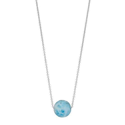 Sterling Silver Larimar Bead Pendant Necklace
