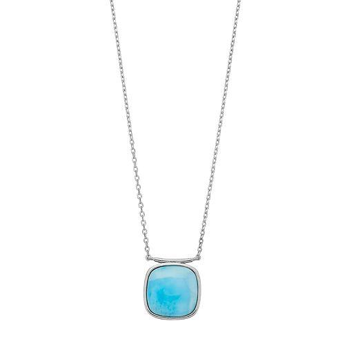 Sterling Silver Larimar Square Pendant Necklace