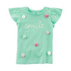 Girls 4-8 Carter's 'Smile' Flutter-Sleeved Tee