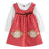 Baby Girl Nannette Polka-Dot Monkey Jumper & Bodysuit Set