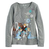 Disney's Frozen Anna, Elsa & Olaf Toddler Girl Glittery Graphic Tee by Jumping Beans®