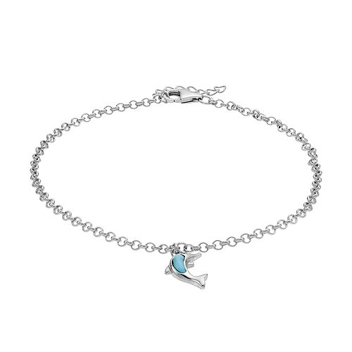 Sterling Silver Larimar  Dolphin Anklet