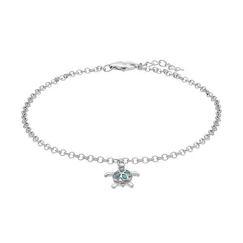 Sterling Silver Larimar Turtle Anklet