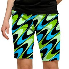 Women's Loudmouth Aqua Printed Golf Bermuda Shorts