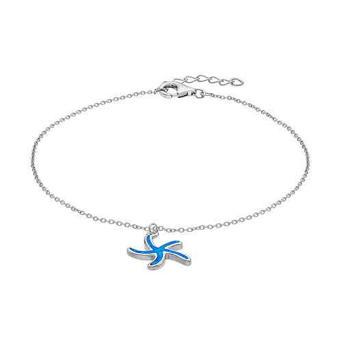 Sterling Silver Lab-Created Blue Opal Starfish Anklet