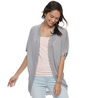 Juniors' Pink Republic Scallop-Trim Dolman Cardigan