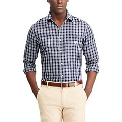 Men's Chaps Classic-Fit Checked Performance Twill Button-Down Shirt