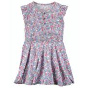 Girls 4-8 Carter's Floral Flutter-Sleeved Poplin Dress