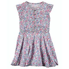 Girls 4-8 Carter's Floral Flutter-Sleeved Poplin Dress