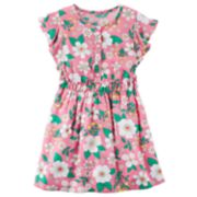 Girls 4-8 Carter's Pink Floral Flutter-Sleeved Dress