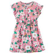 Girls 4-8 Carter's Pink Floral Flutter-Sleeved Dress