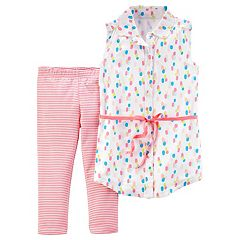 Girls 4-8 Carter's Multi-Colored Dot Button-Front Top & Leggings Set