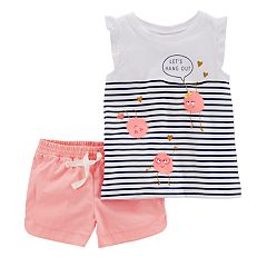 Girls 4-8 Carter's 'Let's Hang Out' Monster Striped Top & Shorts Set