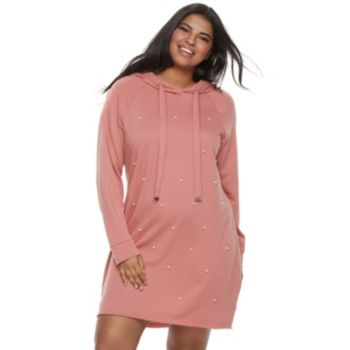 Juniors' Plus Size Almost Famous Simulated Pearl Hooded Dress