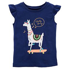 Girls 4-8 Carter's 'Totally Fancy' Llama Skateboarding Graphic Tee