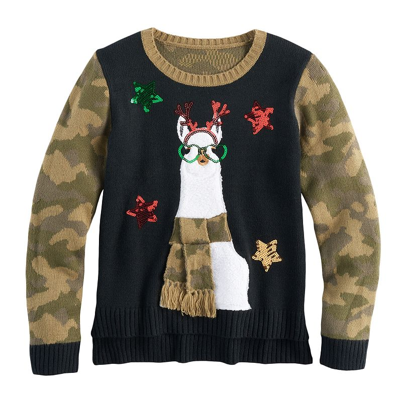 Girls 7-16 & Plus Size Its Our Time High-Low Sequin Ugly Christmas Sweater, Size: M Plus, Black Camo