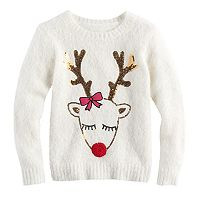 Girls 7-16 & Plus Size It's Our Time Sequin Reindeer Fuzzy Ugly Christmas Sweater