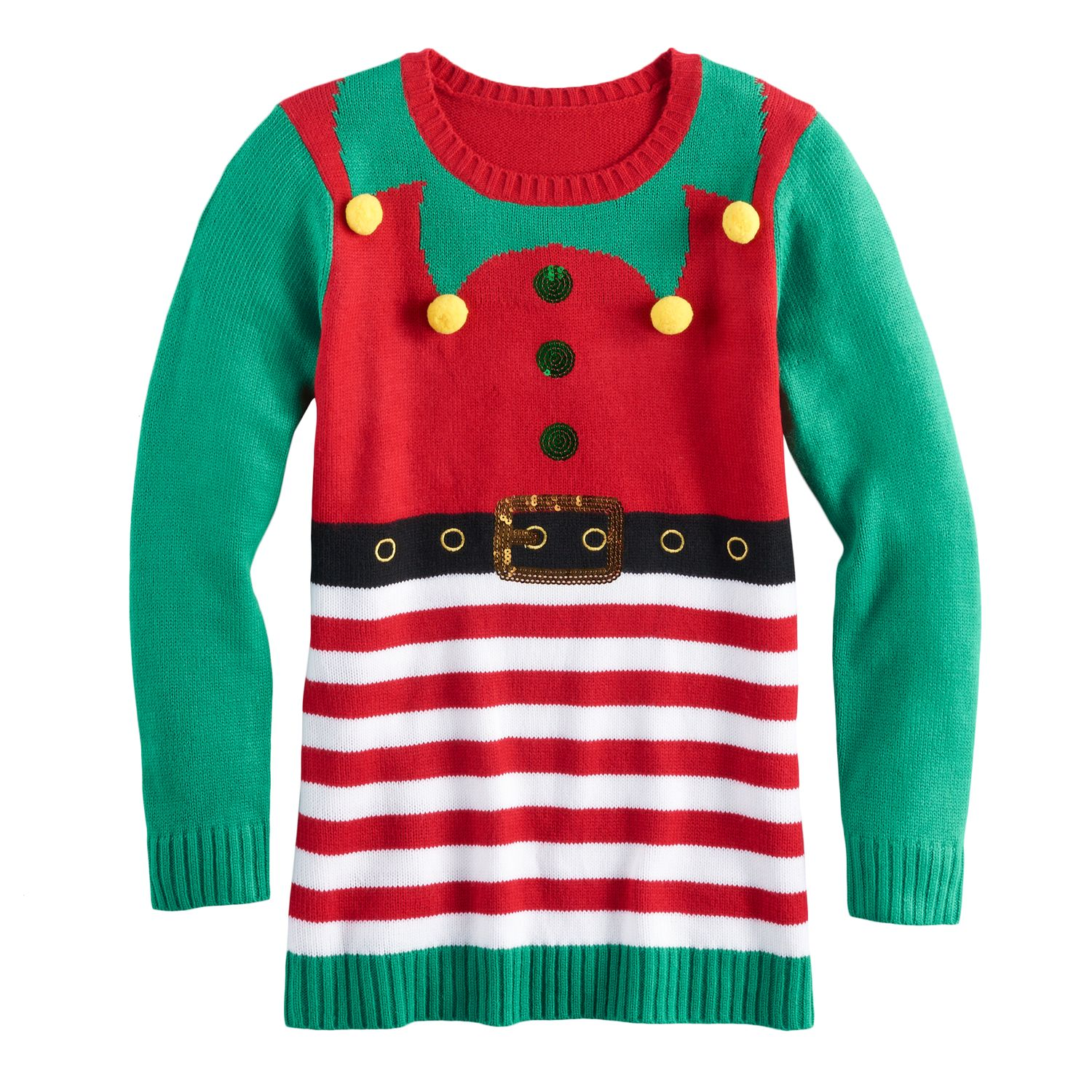 Girls 7-16 \u0026 Plus Size It\u0027s Our Time Embellished Ugly Christmas Tunic Sweater