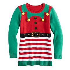 Girls 7-16 & Plus Size It's Our Time Embellished Ugly Christmas Tunic Sweater