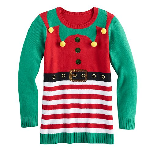 971425c1f2d Girls 7-16 & Plus Size It's Our Time Embellished Ugly Christmas Tunic  Sweater