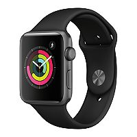 Apple Watch Series 3 42mm Aluminum Case GPS Smartwatch with Black Sport Band (Space Gray) - New Open Box