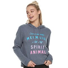 Juniors' 'Mermaids Are My Spirit Animal' Cropped Graphic Hoodie