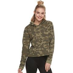 Juniors' Cropped Camo Hoodie