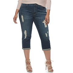 Plus Size Jennifer Lopez Ripped Capri Jeans