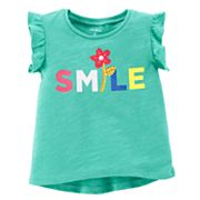 Girls 4-8 Carter's 'Smile' Flower Sequin Applique Tee