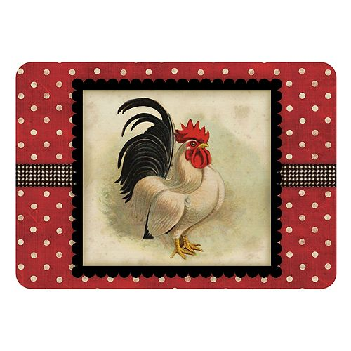 Bungalow Flooring Cream & Black Rooster Indoor Outdoor Comfort Mat - 22'' x 31''