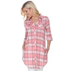 Women's White Mark Plaid Tunic