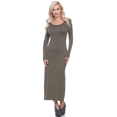 Women's White Mark Solid Maxi Dress